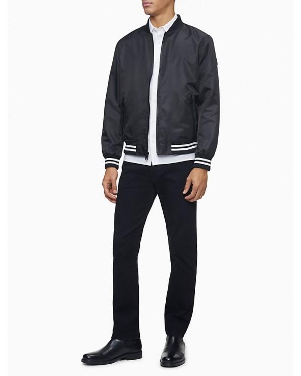 Striped Full Zip Bomber Jacket